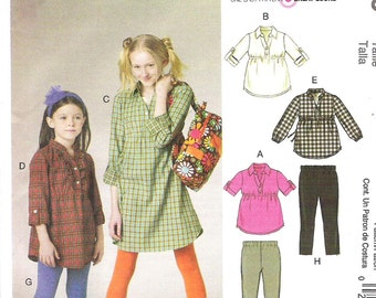 Uncut McCall's Pattern 6156 Children's Tops, Dresses, and Leggings. Factory folded, Children's Sizes 3-4-5-6