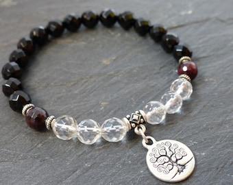 Tree of Life Onyx Bracelet Charm Bracelet Beaded Bracelet Gift for her Black Bracelet Amulet Bracelet