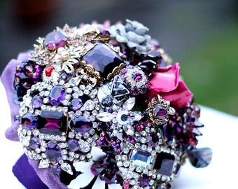 Wedding bouquet Vintage brooch bouquet DAZZLING PURPLE- bridal bouquet - heirloom bouquet