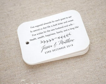 Sugared Almonds Personalized Gift Tags - Jordan Almond Favor Tags - Wedding Favor Tag - Wedding Bomboniere - Set of 15 (Item code: J684)
