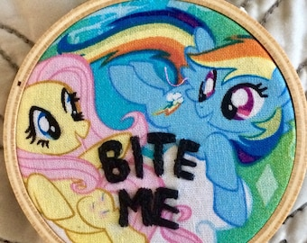 Bite Me - hand embroidery hoop art MAGNET on My Little Pony fabric