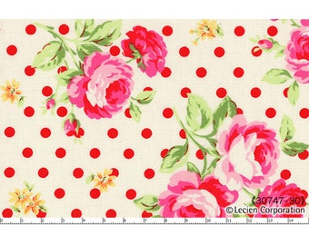 OOP HTF 23 inches Lecien Flower Sugar 2013 Fabric Rose Roses 30747-30 Large Bouquet Floral Flowers RED Polka Dots on White