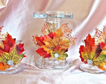 Glass candle holders, weddings, Fall leaves unity candle and taper candle holder set.