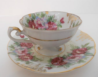 Beautiful Footed Tea Cup And Saucer. Vintage Shafford. Japan.