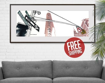NEW YORK, Flatiron Building, 5th Avenue and Broadway, One Way Sign, Ink and Acrylic, Giclée Print, Art Poster, Home Decor, FREE Shipping!