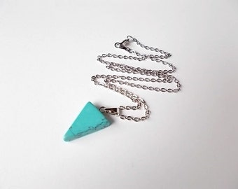 Howlite Necklace, Gift for Her, Geometric Jewelry, Triangle Pendant, Unique Stone Necklace, Rhodium Jewelry