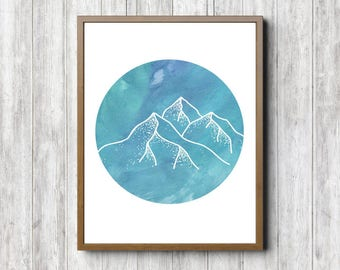 Instant Download - Mountain Nursery / Boys Room Wall Art -Watercolor Mountain Poster -Circle Art - Nature Art Print- 11 x 14 - 8 x 10- 5 x 7