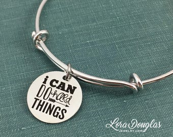 I Can Do Hard Things, Stainless Steel Jewelry, Engraved Jewelry, Marathon Gift, Graduation Gift, Encouragement,  3/4 inch