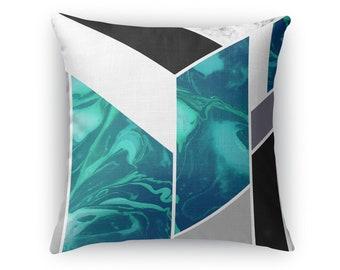 Luxe Marble Aqua Throw Pillow