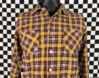 Vintage Kinsport Plaid Long Sleeve Button Down / Yellow, Brown / Check Pattern / Mens Tag size 15-M-15 1/2