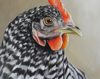 Chicken art 16x20 canvas painting - barred rock hen art - black and white chicken painting - barnyard farm animal painting - large canvas