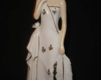 Flapper Woman Figurine, White and Gold Porcelain, prob. Germany