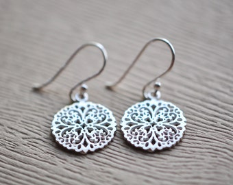 Lace Flower Earrings - Mandala Earrings - Filigree Earrings  - Silver Earrings - Aldari Jewelry Desings