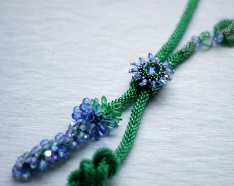 Sage necklace, Gutermann glass beads and crystal, Handmade original design