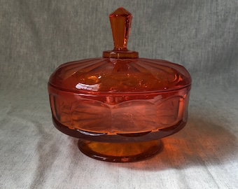 Vintage Viking Epic Persimmon Orange Covered Candy Dish