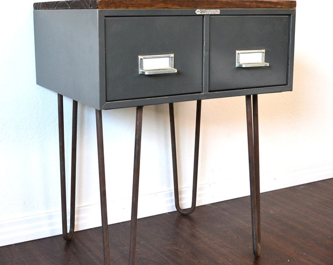 Featured listing image: Side Table or Nightstand Vintage File Box With Wood Topper On Hairpin Legs SALE ITEM