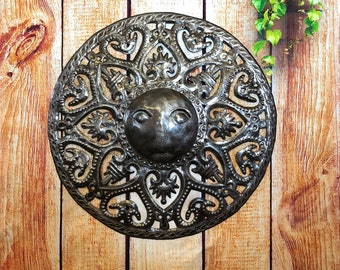 "Metal Sun - Handcrafted Wall Art From Haiti, Indoor and outdoor display, Recycled Oil Drums 17"" x 17"""