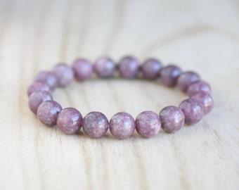 LEPIDOLITE Bracelet Purple Lepidolite Insomnia Bracelet 10mm Lepidolite Beads Purple Stacking Bracelet Lepidolite Stretch Bracelet