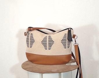 Small crossbody purse leather and jute, canvas mini bag, small messenger bag, hobo bag vegan leather and canvas, white canvas shoulder bag