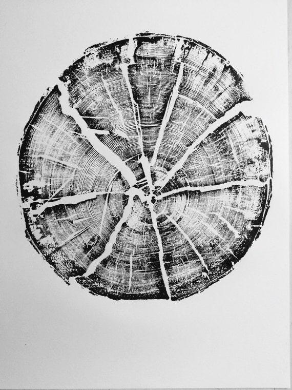 Glacier National Park, Split Log, National Park Art, Original Woodblock, Tree Ring Art Print, woodcut print, Sacred Geometry, Erik Linton