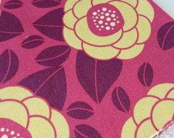 Fabric Destash Joel Dewberry Floral Ginseng Raspberry 19 by 20 fat quarter Stylistic floral