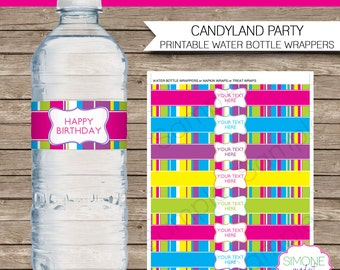 luau party water bottle labels or wrappers instant download