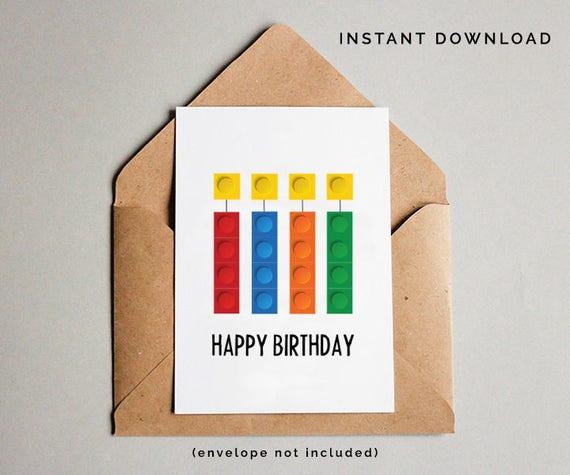 Building Bricks Birthday Card Boys Birthday Card Boys