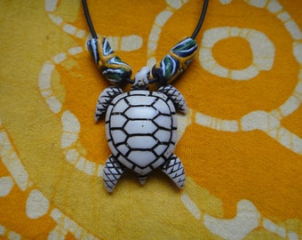 Carved Sea Turtle Pendant African Bead Necklace Mens Surfer Choker Tribal Jewelry