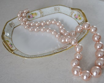 NIPPON GILDED GOLD Dish Vintage Pink Floral Gold Gilding 1940s Vintage Serving Plate