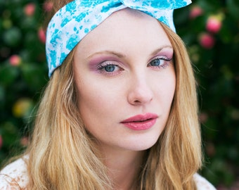 Blue Rose Wire Headband, Dolly Bow, Blue Floral Headband, Pin Up Rockabilly Hair Wrap, Bandana, Hair Scarf, Pretty Rose Headband, Hair Tie