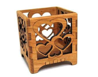 Black Cherry Hearts Wood Votive Candle Holder - Wedding Decor - Sustainable Harvest Wisconsin Wood - Timber Green Woods