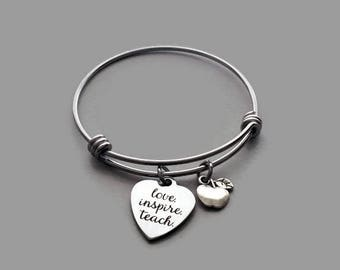 Teacher Charm Bracelet, Teacher Bracelet, Love Inspire Teach, Apple Charm, Apple Bracelet, Teacher Appreciation Gift, Stainless Steel