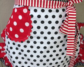 Aprons - Black Dotted Aprons - Red Polka Dotted Aprons -  I Love Lucy Aprons - Dotted Apron - Annies Attic Aprons - Handmade Womens Aprons