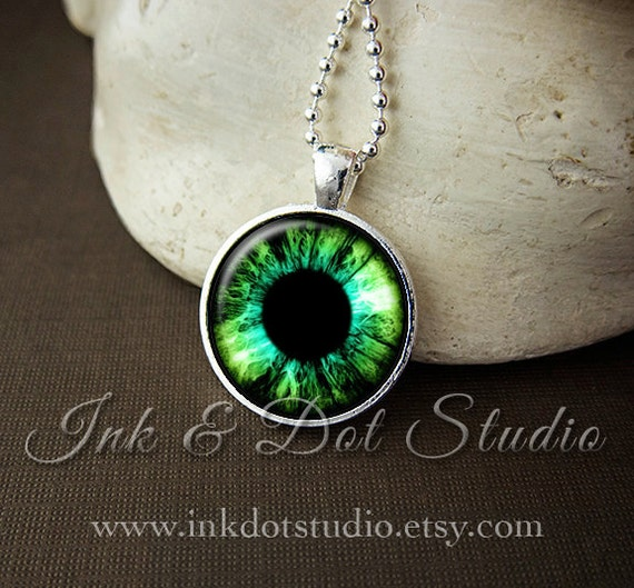 Green eyeball necklace eye pendant green eye necklace like this item aloadofball Choice Image
