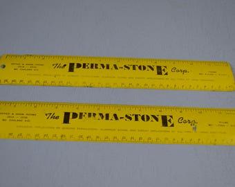 Vintage Metal Rule, Permastone Ruler, Old Measuring Tool, #463