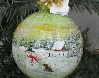 Mothers Day Gift - Hand Painted Christmas Ornament - Winter Scene Ornament - Hand Painted Ornament - Christmas Gift - Best Friend Gift