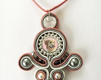 Sautache Photo Keepsake Necklace, Mauve, Grey & Ivory