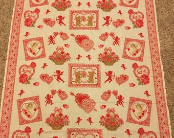 "Vintage Wamsutta Valentine Fabric 1970's-1980's Cotton - Cotton Blend - 54"" Long x 45"" Wide - Pink White Red Hearts, Bears & Angels"