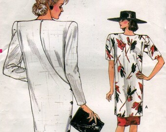 1980s Vogue 9488 Misses Back Wrap Straight Dress Tunic Skirt Size 8 10 12 UNCUT