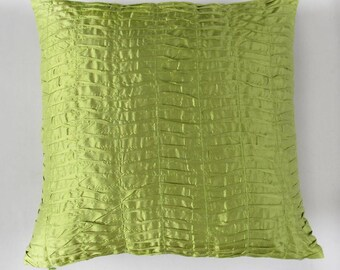 Lime green pintuck  pillow.  light green pleated cushion cover.   euro sham pillow  cover.  decorative floor  custom 26 inch  custom made