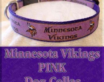 PINK Minnesota Vikings Football NFL Designer Novelty Dog Collar