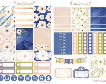 Windflower Weekly Planner Sticker Kit for use with ERIN CONDREN LIFEPLANNER™, Happy Planner, A5, Personal, Pocket, Travelers Notebook