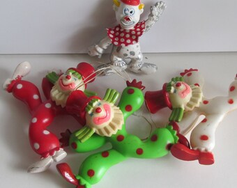 1960s Clowns 3 + 1 Free Polka Dot Clown Suit Plastic Clown decor Clown Birthday Party decor Clown Birthday cake Toppers
