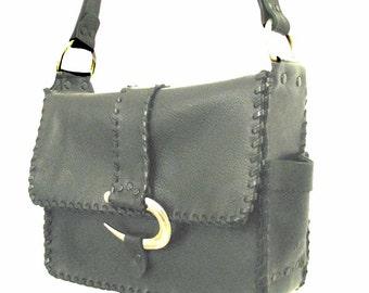Black Leather Silver Curve 3 Pocket Shoulder Bag Handmade ON SALE