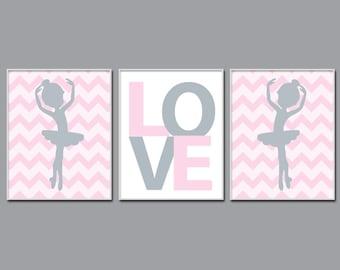 Ballerina Nursery Art Print, Ballet and Love Suits Baby Girl Pink And Grey Nursery Art, Girls Bedroom Decor - H773