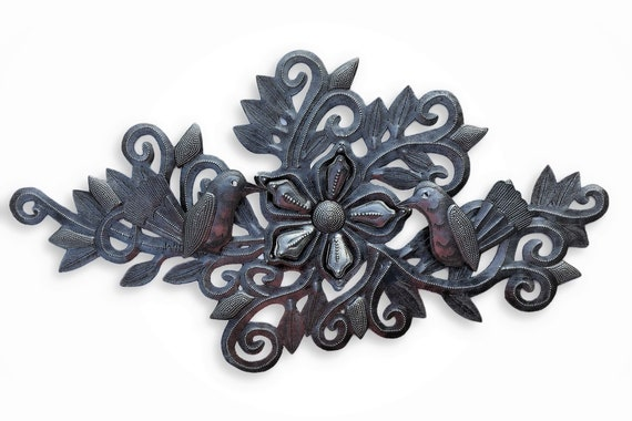 """New Metal Hummingbirds and Flowers, Wall Decor, Indoor and Outdoor Plaques, Artistic Craftsmanship 9.5"""" x 19"""""""