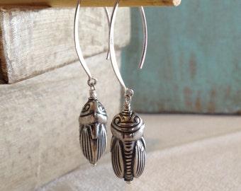 Bali Sterling Silver Cicada Earrings on Almond Ear Wires - Bug Earrings - Insect Earrings - Eye Catching Earrings