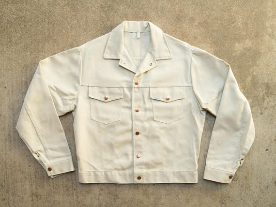 White Jean Jacket M - White Denim Jacket Medium - Cream Denim - Cream Jean  Jacket - Selvedge - 70s Jean Jacket- Like New Condition- Men's M