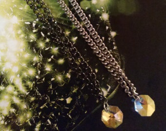 Reversible Swarovski AB Crystal Necklace/Swarovski AB Crystal Pendant Necklace