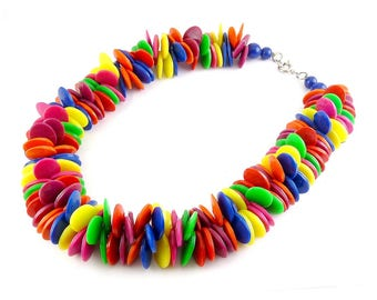 1980s Multicolor Plastic Disks Confetti Bead Necklace